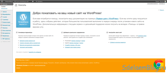 Настройка WordPress (WP) - Консоль