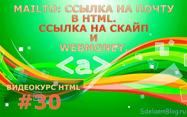 Ссылка на почту в HTML. Ссылка на скайп и webmoney.